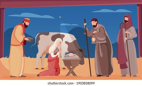 Scene of jesus christ birth in wooden manger flat vector illustration