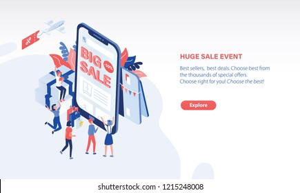 Scene with joyful customers or buyers standing in front of giant smartphone with Big Sale text on screen. Online shopping, internet retail. Modern colored vector illustration in isometric style.