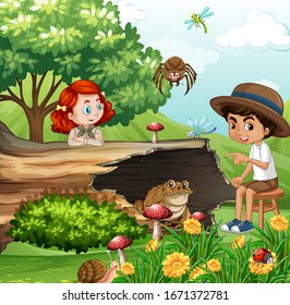 Scene with kids and animals in the garden illustration