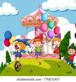 Scene with kids and clown at funpark illustration