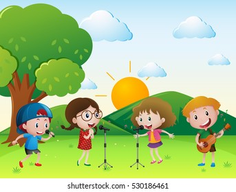 Scene with kids singing and playing music illustration