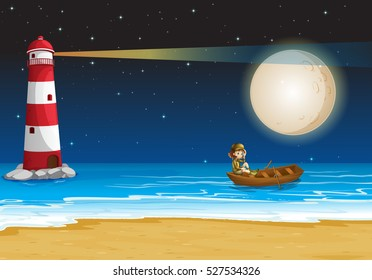 Scene with lighthouse at night time illustration