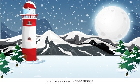 Scene with lighthouse in the snow illustration