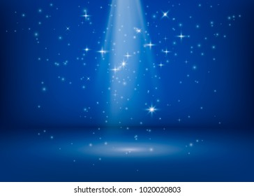 The scene is lit by a searchlight. Brilliant shimmering lights. Magical miracle shiny spot. Glitter stars background. Vector illustration