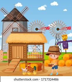 Scene with little boy feeding chickens on the farm illustration