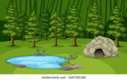 Scene with little cave by the pond in the big forest illustration