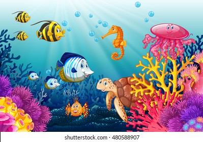 Scene with lives underwater illustration
