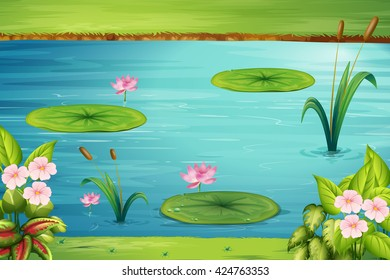 Scene with lotus in the pond illustration