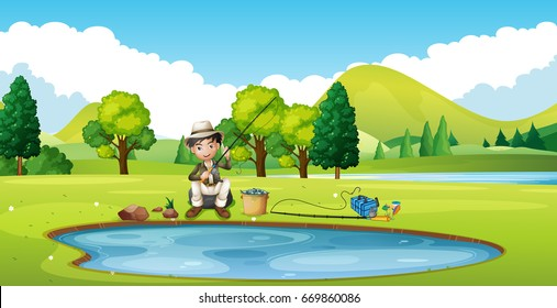 Scene with man fishing by the pond illustration