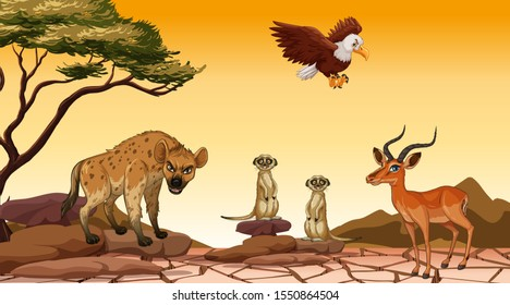 Scene with many animals in the field illustration