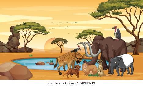 Scene with many animals at the savanna illustration