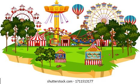 Scene with many rides in the circus park illustration