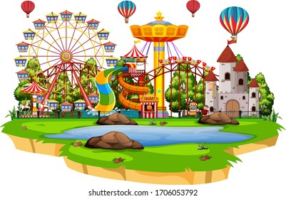 Scene with many rides in the funpark on white background illustration