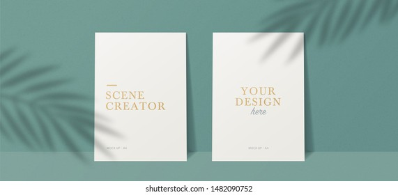 Scene Mockup. A4 format Mockups.  Shadow overlay effects. Leaf Shadows. Vector shadow silhouette effect.