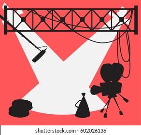 Scene of the movie studio silhouette