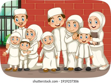 Scene with muslim family cartoon character illustration