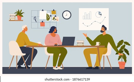 Scène au bureau. Des hommes et des femmes prennent part à des réunions d'affaires, des négociations, des brainstorming, des discussions. Illustration vectorielle colorée dans un style de dessin animé à plat.