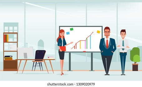 Scene of office room and business people teamwork in presenting whiteboard.
