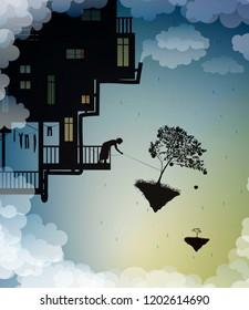 scene on the dreamland, house on the sky, work on heavens, fairy harvest, fairy silhouette, vector