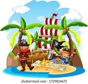 Scene with pirate and happy boy on treasure island illustration