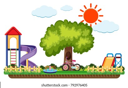 Scene of playground with slides at daytime illustration