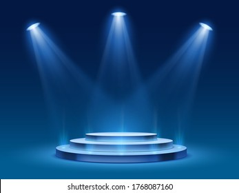 Scene podium with blue light. Stage platform with lighting for award ceremony, illuminated pedestal for presentation shows, vector image. Platform with steps and floodlight, searchlight with projector