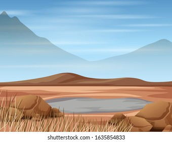 Scene with pond and dry land illustration