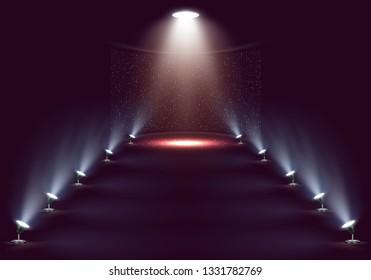 Scene for presentation illuminated by spotlights. Vector illustration.