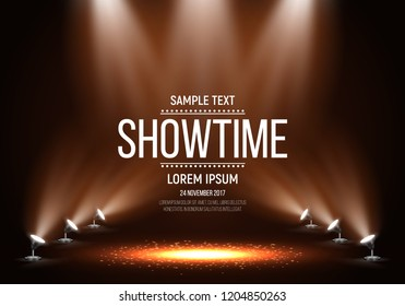 Scene for presentation. Showtime banner illuminated by spotlights. Vector illustration.