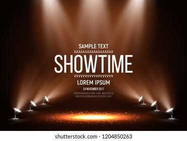 Schauen Sie nach der Präsentation. Showtime-Banner, beleuchtet durch Scheinwerfer. Vektorgrafik.