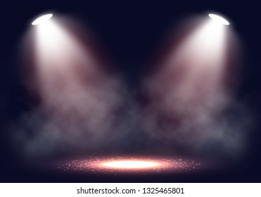 Scene for presentation with smoke illuminated by spotlights. Vector illustration.