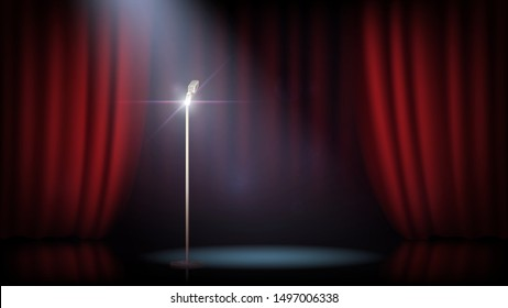 A scene with a red curtain and a standing microphone. Concert, show, performance