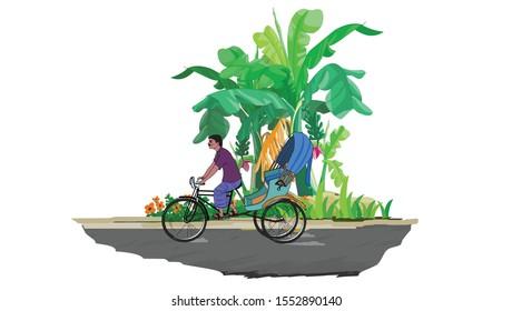 scene with rickshaw puller - vector illustration
