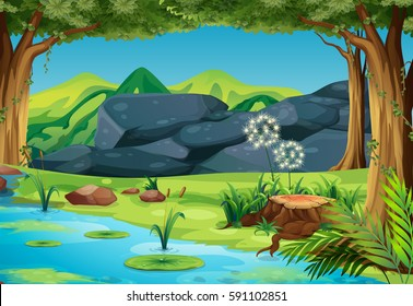 Scene with river in the forest illustration