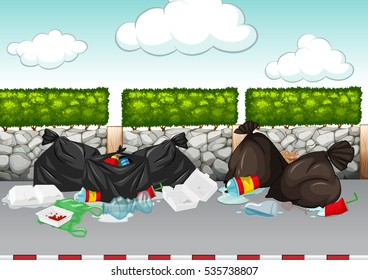 Scene with rubbish lying around the road illustration