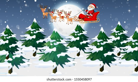 Scene with Santa and reindeer on the sleigh illustration