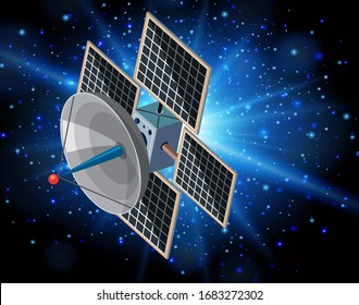 Scene with satellite floating in the galaxy  illustration