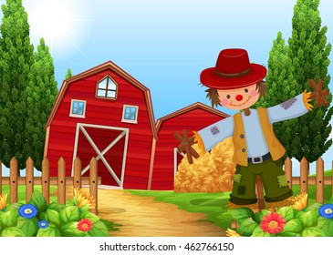 Scene with scarecrow and barns illustration