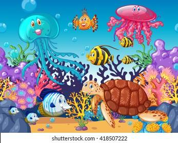 Scene with sea animals under the ocean illustration