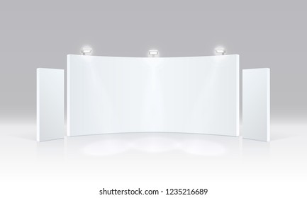 Scene show Podium for presentations on the grey background. Vector illustration