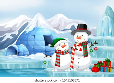 Scene with snowman and igloo illustration