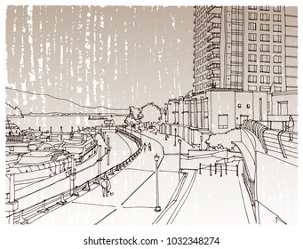 Scene street illustration. Hand drawn ink line sketch Vancouver, Canada  with buildings, windows, cityscape  in outline style perspective view. Postcards design.