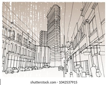 Scene street illustration. Hand drawn ink line sketch New York city, USA with buildings, windows, cityscape, people, cars  in outline style perspective view. Postcards design.