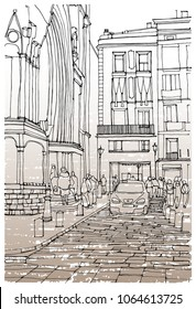 Scene street illustration. Hand drawn ink line sketch European old town, historical architecture  with buildings, roofs in outline style. Ink drawing of cityscape, perspective view. Travel postcard.