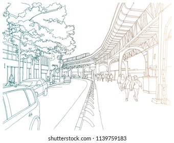 Scene street illustration. Hand drawn ink line sketch European old town, Hamburg, Germany  with buildings, bridge, train in outline style. Ink drawing of cityscape, perspective view. Travel postcard.