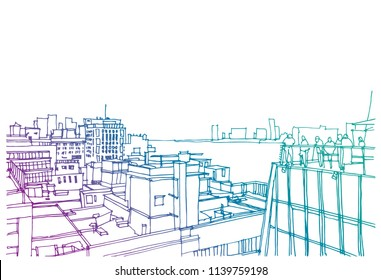 Scene street illustration. Hand drawn ink line sketch New York city, Brooklyn, Manhattan  with buildings, roofs, Williamsburg bridge, cityscape  in outline style perspective view. Postcards design.