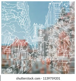 Scene street illustration. Hand drawn ink line sketch New York city, Brooklyn, Manhattan  with buildings,road, bridge, cityscape  in outline style perspective view. Postcards design.