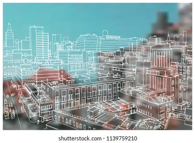 Scene street illustration. Hand drawn ink line sketch panorama New York city, Manhattan  with buildings,construction, streets in outline style perspective view. Postcards design.