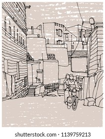 Scene street illustration. Hand drawn ink line sketch Indian town Jodhpur,India with buildings,people, cityscape  in outline style perspective view. Postcards design.