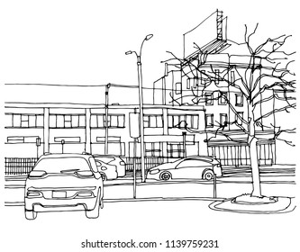 Scene street illustration. Hand drawn ink line sketch Boston, USA with buildings, windows, cityscape, people, cars  in outline style perspective view. Postcards design.